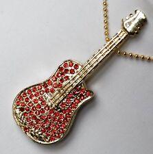 USB STICK 4GB guitarra rock rojo color Oro Estrás Música De Regalo memoria