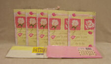 "5 Heavy Duty Gift Bags Pink Rose Petal Design 8"" x 6""  & Tissue Paper Lot of 7"