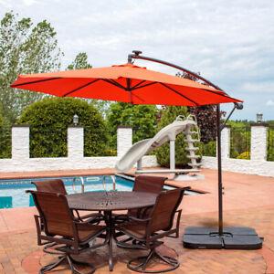 Sunnydaze Burnt Orange 10' Outdoor Offset Solar LED Umbrella -Cantilever & Crank
