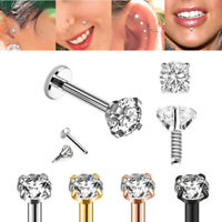 "2PC 16G 1/4"" 5/16"" 3/8"" PRONG SET CZ INTERNALLY THREADED STEEL LABRET EAR TRAGUS"