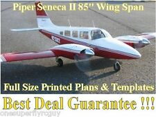 "Piper Senaca 85"" WS Giant Scale RC Airplane Full Size PRINTED Plans & Templates"