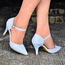 Ladies SILVER glitter Heel Evening Shoes Ankle strap Pointed Toe Court Shoe Size