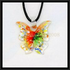 2016 New butterfly lampwork Murano art glass beaded pendant necklace BB34