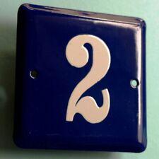HAUSNUMMER 2 = Altes Emailschild um 1955 MAKELLOS Eingang Haustür Türschild FETT