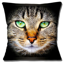 Tabby Cat Face Cushion Cover 16x16 inch 40cm Cat Green Eyes Scarred Nose Photo