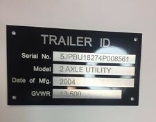 Engraved Trailer Truck Equipment Plate Serial Model # ID Tag White/Black Chrome
