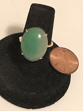 18K Yellow Gold Jade Ring, 4.4 Grams  Size 6+