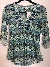 Anthropologie Akemi + Kin Women's Extra Small XS Blue Ocotillo Top Shirt NEW