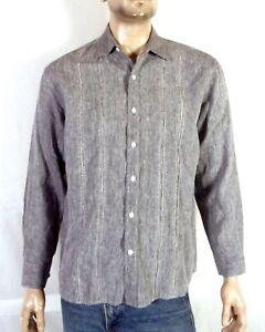euc Nat Nast Luxury Originals Gray Linen Embroidered Camp Shirt Rockabilly sz M