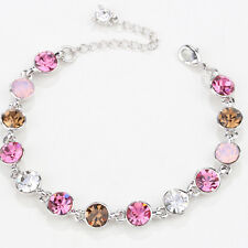 6mm Round Pink Crystal Rhinestone White Gold Plated Adjustable Tennis Bracelet
