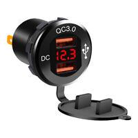 Aluminum Motorcycle ATV Phone Adapter Waterproof Dual USB QC3.0 Fast Charger