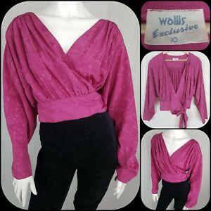 Size 10-12 Vintage Wallis 80s Wrap Blouse Shoulder Pads Hot Pink Top Batwing