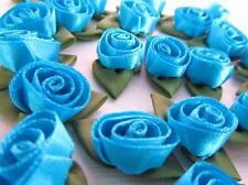 "144 Satin Ribbon Swirl Tulip Flower Rose 1"" Green Leaf Trim F86-Turquoise Blue"