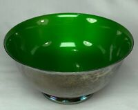 Antique Silverplate Bowl with Green interior- Reed and Barton 1120 Silverplate