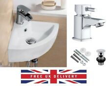COMPACT SMALL CLOAKROOM CORNER BASIN SINK WALL HUNG + SQUARE TAP & WASTE SET
