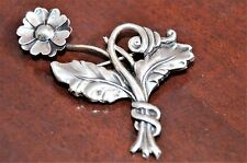 Estate Vintage Signed Lang Sterling Silver Flower & Leaves Brooch
