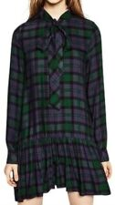 EUC ZARA TRF women's plaid colorblock dropwaist long sleeves mini dress sz US L
