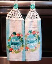 2 NEW  HANGING DISH TOWELS  / Relax