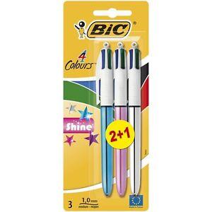 BiC 4 Colour Shine Retractable Ballpoint Pen - Multi-Coloured, Pack of 3