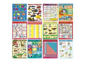 12 X CHILDRENS  EDUCATIONAL LEARNING POSTERS CHART A2  NURSERY SCHOOL HOME