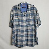 Tommy Bahama Blue Plaid 100% Linen Button Front Hawaiian Shirt Mens XL I106