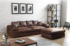 Big Sofa Megasofa Riesensofa AREZZO - Vintage Braun inkl.Hocker