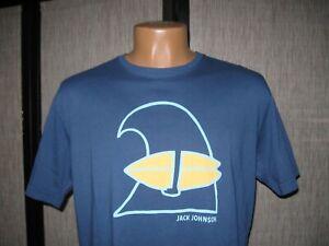 Jack Johnson Organic Cotton Men's Wave Tour S/S T-Shirt  Navy Large Made in USA