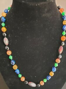 Vintage Handmade Glass Beaded  Necklace 22""