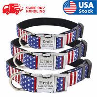 Custom USA Flag Dog Collar with personalized dog name plate tag ID