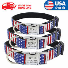 Custom Usa Flag Dog Collar with personalized dog name plate tag Id