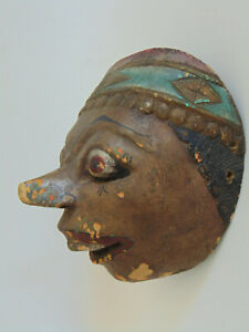 ANTIQUE INDIAN HAND CARVED HAND PAINTED WOODEN MASK  - INDIA