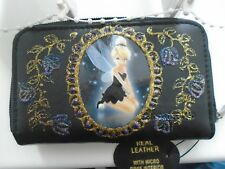 NEW TINKERBELL   IMAGE  PICTURE  BLACK LEATHER  PURSE/WALLET
