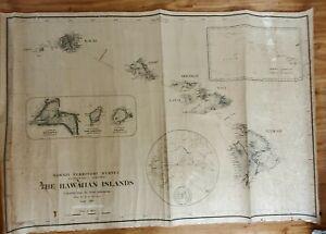"""Antique Map of Hawaiian Islands H.E. Newton 60x40"""" 1919 Original Schmidth L. Co"""