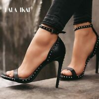 Women's Stiletto Heel Leather Studded High Heels Summer Ankle Buckle SexySandals