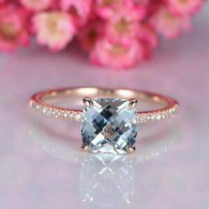 2.00Ct Cushion Cut Aquamarine Solitaire Engagement Ring in 14K Rose Gold Finish