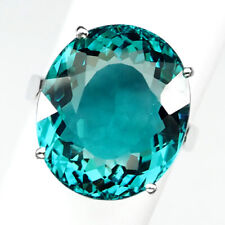AQUAMARINE BLUE GREEN OVAL 18.90 CT. 925 STERLING SILVER RING 7.5 GIFT JEWELRY