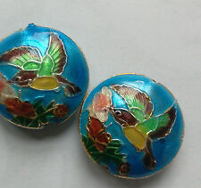 2 Cloisonne Beads, Ornate Floral/Bird, Blue/Multicolour 18mm, Jewellery Making