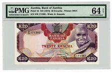 Zambia ...P-18 ... 20 Kwacha ... ND(1947) ... *CHOICE UNC*  PMG 64.