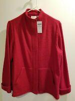 NWT Chico's Red Boiled Wool Swing Jacket Outerwear Sz 1 Medium.Reg. $139