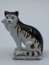 Franklin Mint Curio Cabinet Cats - 18th Century German Cat (Brown & White cat)