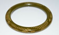 VTG Olive Green BAKELITE TESTED Carved Bangle Bracelet