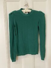 ba&sh Emerald Green Knit Sweater Jumper Lady Pullover Puff Sleeve Sz 1 (8-10)