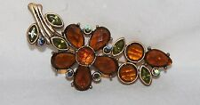 """Flower Brooch pin gold tone 3"""" Brown & green colored stones crystals"""