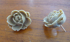 Ladies, Women's, Girl's Large Brown Coloured Rose Studs. Free Shipping.
