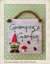 Garden Sign PERSONALISED NAME Gnome Fathers Day Gifts Outdoor Shed Yard Plaque