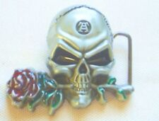 Gürtelschnalle Skull Rose 3D Totenkopf Buckle Metall