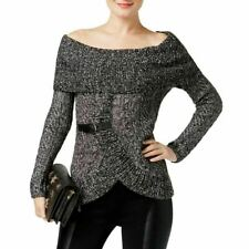 INC Sweater Off-The-Shoulder Heathered Women Gray Black Sz L NEW NWT 286