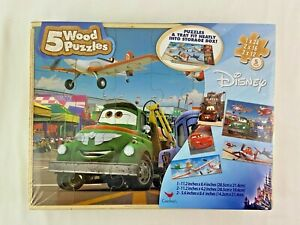 Disney Cars Planes Wood Puzzle Set of 5 Jigsaw Child Toy