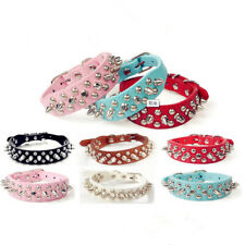 Adjustable Pets Small Dog Collars Harness Spiked Studded PU Leather Puppy Collar