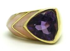 14K Yellow Gold 9 mm Trillion Amethyst with Mother of Pearl Size 6 / 4.1 Grams